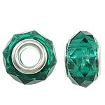 European kristalli helmiä, Rondelli, hopeaa Kaksoisjohdin ilman peikko, Smaragdi, 14x9mm, Reikä:N. 5mm, 20PC/laukku, Myymät laukku