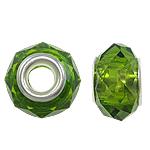 European kristalli helmiä, Rondelli, hopeaa Kaksoisjohdin ilman peikko, Oliviini, 14x9mm, Reikä:N. 5mm, 20PC/laukku, Myymät laukku