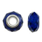 European kristalli helmiä, Rondelli, hopeaa Kaksoisjohdin ilman peikko, Tumma Sapphire, 14x9mm, Reikä:N. 5mm, 20PC/laukku, Myymät laukku