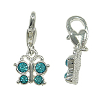 Zinc Alloy Lobster Clasp Charm, Butterfly, with rhinestone, nickel, lead & cadmium free, 12x25x3mm, Hole:Approx 5x4mm, 10PCs/Bag, Sold By Bag