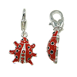 Zinc Alloy Lobster Clasp Charm, Ladybug, enamel & with rhinestone, red, nickel, lead & cadmium free, 15x31x5mm, Hole:Approx 5x4mm, 10PCs/Bag, Sold By Bag
