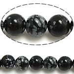 Natural Snowflake Obsidian Beads, Round, 6mm, Hole:Approx 0.8mm, Length:Approx 15 Inch, 10Strands/Lot, Approx 60PCs/Strand, Sold By Lot