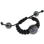 Zinc Alloy Shamballa Finger Ring, zinc alloy bead with rhinestone, handcrafted wax cord, adjustable, nickel, lead & cadmium free, 8#, 12mm, Sold per  Strand