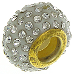 European Resin Beads, Rondelle, gold color plated, brass double core without troll & with rhinestone, white, 9.50x14mm, Hole:Approx 5.2mm, 20PCs/Bag, Sold by Bag
