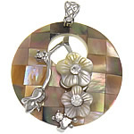 Shell Pendants, Freshwater Shell, with Brass, Flat Round, platinum color plated, with rhinestone, nickel, lead & cadmium free, 40x40x9mm, Hole:Approx 8x5mm, Sold By PC