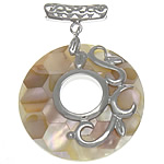 Natural Mosaic Shell Pendants, with Brass, Donut, platinum color plated, nickel, lead & cadmium free, approx 40x40x6mm, Hole:Approx 3.5mm, Sold By PC