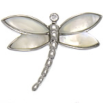 Natural White Shell Pendants, with Brass, Dragonfly, platinum color plated, with rhinestone, white, nickel, lead & cadmium free, approx 33x25x3mm, Hole:Approx 7x3mm, Sold By PC