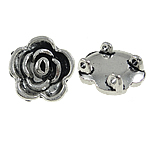 Flower Zinc Alloy Connector, antique silver color plated, 2/2 loop, nickel, lead & cadmium free, 18x8mm, Hole:Approx 1.5mm, Approx 250PCs/Bag, Sold By Bag
