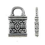 Sinkkiseos Lock riipukset, Lukko, antiikki hopea päällystetty, Jäljitelmä Antiikki, lyijy ja sen kadmium vapaa, 8x12x2mm, Reikä:N. 3mm, N. 2000PC/laukku, Myymät laukku