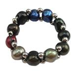 Pierścień z perłami słodkowodnymi, Perła naturalna słodkowodna, ze Mosiądz, wielokolorowy, 3-6mm, rozmiar:5, sprzedane przez PC