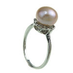 Freshwater Pearl Finger Ring, with Brass, platinum color plated, pink, 8-9mm, Hole:Approx 16-18mm, Sold By PC