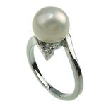 Pierścień z perłami słodkowodnymi, Perła naturalna słodkowodna, ze Mosiądz, Platerowane w kolorze platyny, biały, 8-9mm, otwór:około 16-18mm, sprzedane przez PC
