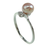 Freshwater Pearl Finger Ring, with Brass, platinum color plated, pink, 7-8mm, Hole:Approx 16-18mm, Sold By PC