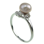 Freshwater Pearl Finger Ring, with Brass, platinum color plated, purple, 7-8mm, Hole:Approx 16-18mm, Sold By PC