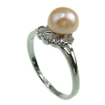 Freshwater Pearl Finger Ring with Brass platinum color plated pink 7-8mm Hole:Approx 16-18mm