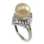 Freshwater Pearl Finger Ring, with Brass, platinum color plated, 9-10mm, Hole:Approx 18mm, US Ring Size:8, Sold By PC