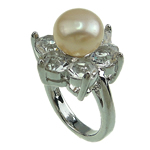 Freshwater Pearl Finger Ring, with Rhinestone & Brass, platinum color plated, 9-10mm, Hole:Approx 16-18mm, Sold By PC