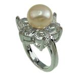 Pierścień z perłami słodkowodnymi, Perła naturalna słodkowodna, ze Kryształ górski & Mosiądz, Platerowane w kolorze platyny, 9-10mm, otwór:około 16-18mm, sprzedane przez PC