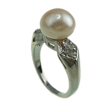 Freshwater Pearl Finger Ring, with Brass, platinum color plated, 9-10mm, Hole:Approx 16-18mm, Sold By PC