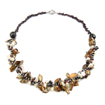 Crystal Freshwater Pearl Necklace, with Crystal & Glass Seed Beads, brass clasp, natural, 14mm, 10-23mm, Sold Per 20 Inch Strand