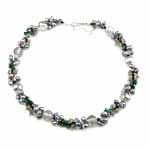 Crystal Freshwater Pearl Necklace, with Crystal & Glass Seed Beads, brass clasp, Oval, natural, 121mm, 5-7mm, Sold Per 16.5 Inch Strand