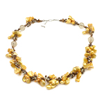 Natural Freshwater Pearl Necklace with Crystal brass clasp yellow 12mm 10-21mm Sold Per 17.5 Inch Strand