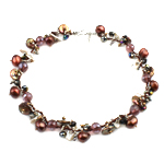 Crystal Freshwater Pearl Necklace, with Crystal & Glass Seed Beads, brass clasp, natural, 12-14mm, 12mm, Sold Per 17.5 Inch Strand