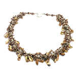 Crystal Freshwater Pearl Necklace, with Crystal & Glass Seed Beads, brass clasp, natural, 7-12mm, 8x8mm, Sold Per 18.5 Inch Strand