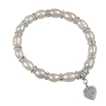 Freshwater Cultured Pearl Bracelet, Freshwater Pearl, with Brass & Zinc Alloy, 7-10mm, Length:6 Inch, 10/