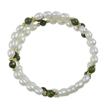 Freshwater Cultured Pearl Bracelet, Freshwater Pearl, with Jade, Rice, 6-7mm, Sold Per 7 Inch Strand