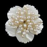 Broszka z pereł słodkowodnych, Perła naturalna słodkowodna, ze Muszla, Kwiat, biały, 57x13mm, sprzedane przez PC