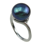Freshwater Pearl Finger Ring, with Brass, dark blue, 11-12mm, Hole:Approx 16-18mm, Sold By PC