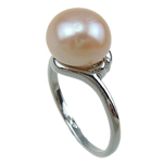 Freshwater Pearl Finger Ring, with Brass, pink, 11-12mm, Hole:Approx 16-18mm, Sold By PC