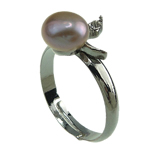 Freshwater Pearl Finger Ring, with Brass, platinum color plated, 7-8mm, Hole:Approx 18mm, US Ring Size:8, Sold By PC