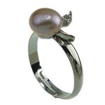 Pierścień z perłami słodkowodnymi, Perła naturalna słodkowodna, ze Mosiądz, Platerowane w kolorze platyny, 7-8mm, otwór:około 18mm, rozmiar:8, sprzedane przez PC