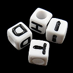 Alphabet Acrylic Beads, mixed, white, 7x7mm, Hole:Approx 4mm, 1950PCs/Bag, Sold By Bag