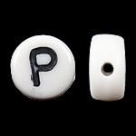 Alphabet Acrylic Beads, Coin, white, 4x7mm, Hole:Approx 0.5mm, Approx 3200PCs/Bag, Sold By Bag