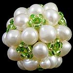 Koraliki z hodowlanych pereł w kształcie piłki, Perła naturalna słodkowodna, ze Koraliki szklane, Koło, 20mm, 10komputery/torba, sprzedane przez torba