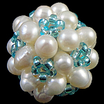 Ball Cluster Cultured Pearl Beads, Freshwater Pearl, with Glass Seed Beads, Round, 20mm, 10PCs/Bag, Sold By Bag