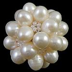 Koraliki z hodowlanych pereł w kształcie piłki, Perła naturalna słodkowodna, ze Koraliki szklane, Koło, biały, 28mm, sprzedane przez PC