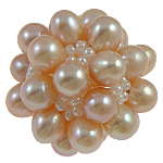 Koraliki z hodowlanych pereł w kształcie piłki, Perła naturalna słodkowodna, ze Koraliki szklane, Koło, różowy, 28mm, sprzedane przez PC