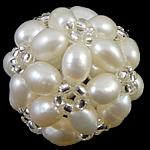 Koraliki z hodowlanych pereł w kształcie piłki, Perła naturalna słodkowodna, ze Koraliki szklane, Koło, biały, 17mm, sprzedane przez PC