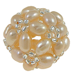 Ball Cluster Cultured Pearl Beads, Freshwater Pearl, with Glass Seed Beads, Round, pink, 17mm, Sold By PC