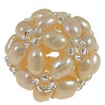 Koraliki z hodowlanych pereł w kształcie piłki, Perła naturalna słodkowodna, ze Koraliki szklane, Koło, różowy, 17mm, sprzedane przez PC