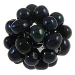 Ball Cluster Cultured Pearl Beads, Freshwater Pearl, Round, black, 15-20mm, Sold By PC