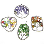 Mixed Gemstone Pendants, with Brass, platinum color plated, mixed colors, nickel, lead & cadmium free, 33-50x45-50x4-10mm, Hole:Approx 6mm, 20PCs/Bag, Sold By Bag