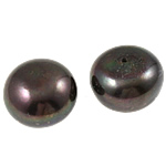 Half Drilled Cultured Freshwater Pearl Beads, Round, natural, half-drilled, black, Grade AA, 13-14mm, Hole:Approx 0.8mm, Sold By Pair