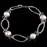 Freshwater Cultured Pearl Bracelet, Crystal, with Freshwater Pearl & Glass Seed Beads, iron screw clasp, 7-8mm, Sold Per 7.5 Inch Strand