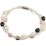 Freshwater Cultured Pearl Bracelet, Freshwater Pearl, with Glass Seed Beads, iron screw clasp, 5-6mm, Sold Per 7.5 Inch Strand
