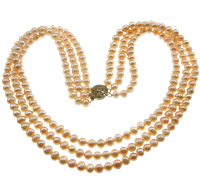 Natural Freshwater Pearl Necklace brass box clasp Round pink 6-7mm Sold Per 17 Inch Strand